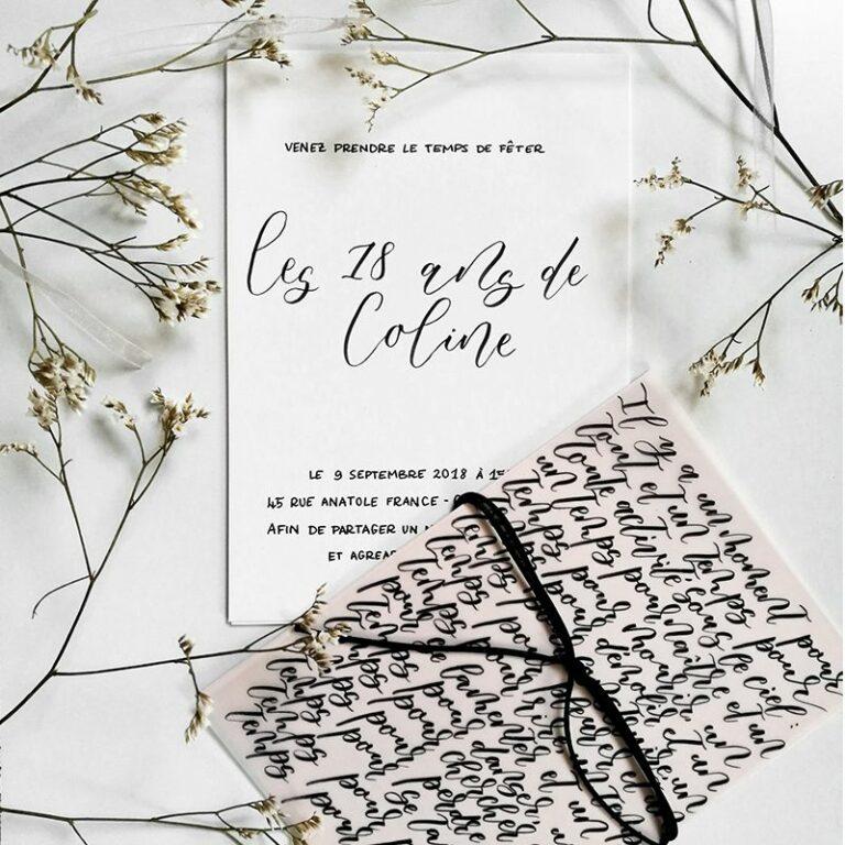 Invitation d'anniversaire sur-mesure pour les 18 ans de Coline, fait à la main et calligraphie