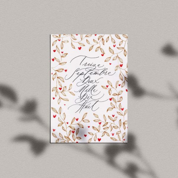 Carte Cupidon – Date calligraphiée