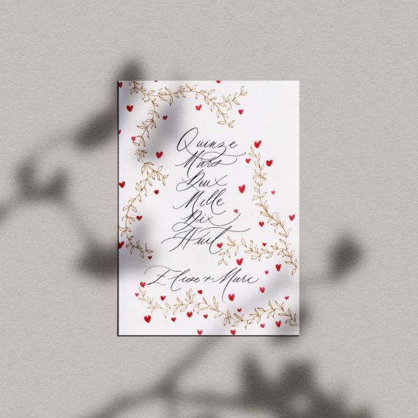 Carte Cupidon – Date + prénoms calligraphiés