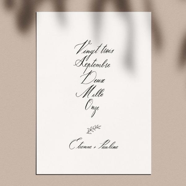 Affiche calligraphiée prénoms + date couple