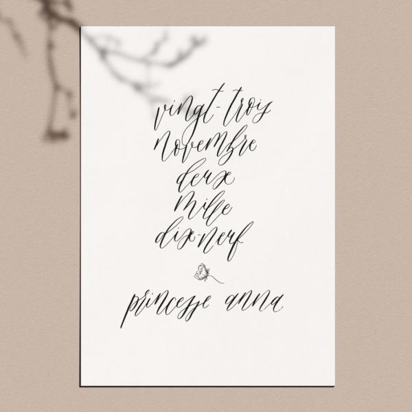 Affiche calligraphiée : prénom enfant + date de naissance