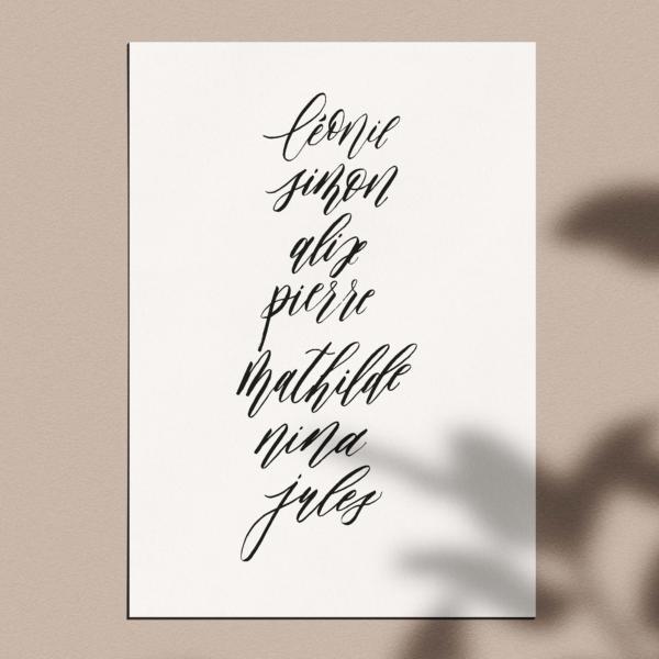 Affiche calligraphiée : prénoms de la famille