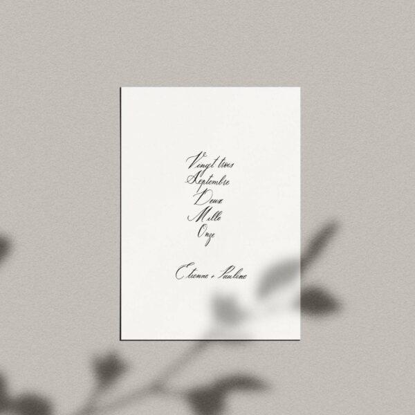 Carte calligraphiée : prénoms + date couple