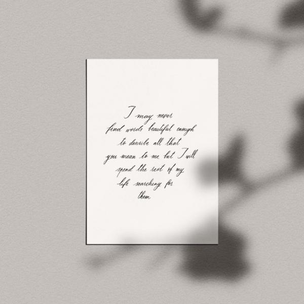 Carte calligraphiée : texte personnalisé