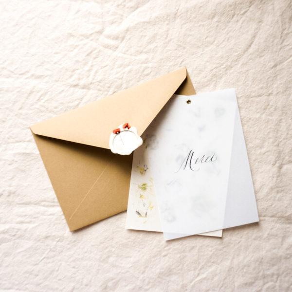 Carte artisanale calque et papier impression fleurs + enveloppe cachet de cire