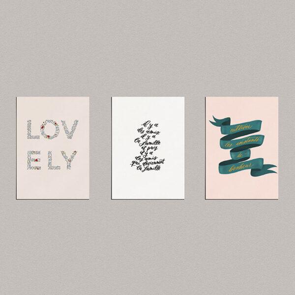 Lot de 3 cartes à message : lovely, la famille et le bonheur