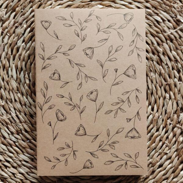 «Délicatesse florale» carnet kraft illustré à la main