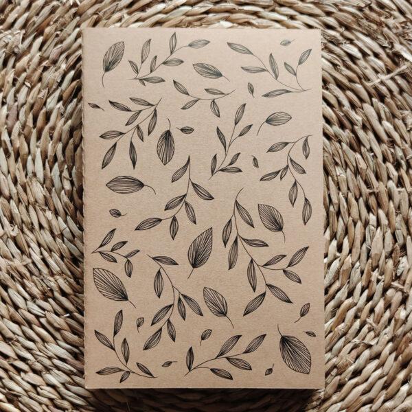 «Feuilles d'automne» carnet kraft illustré à la main