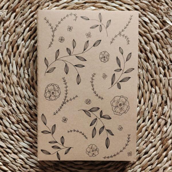 «Jardin sauvage» carnet kraft illustré à la main