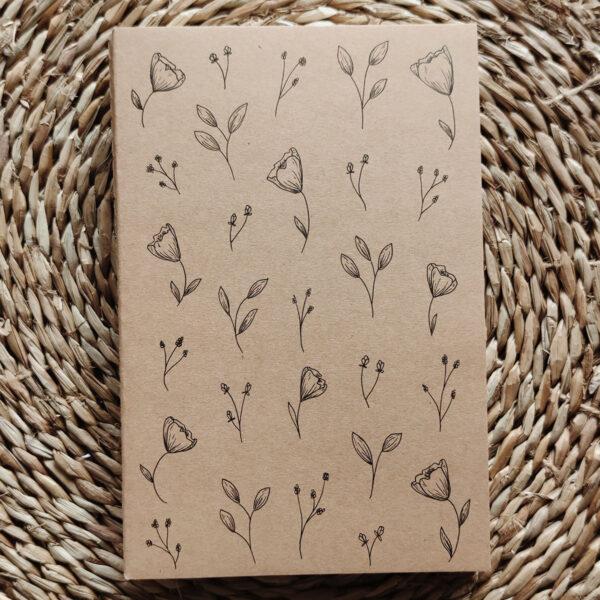 «Petites fleurs» carnet kraft illustré à la main