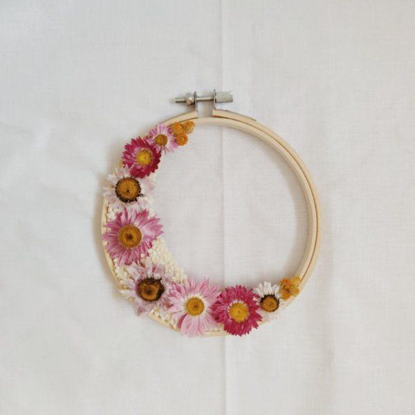 Tambour demie-couronne fleurie Eloïse
