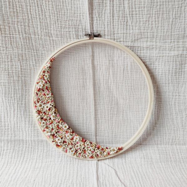 Grand tambour demie-couronne fleurie Iselda